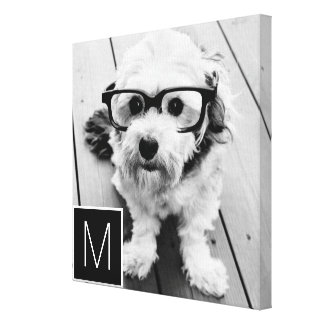Black and White 1 Photo Collage Custom Monogram Canvas Print