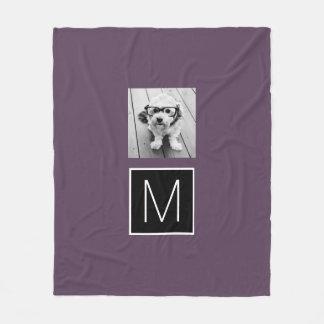 Black and White 1 Photo Collage Custom Monogram Fleece Blanket
