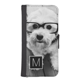 Black and White 1 Photo Collage Custom Monogram iPhone SE/5/5s Wallet Case
