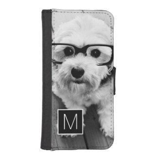 Black and White 1 Photo Collage Custom Monogram iPhone SE/5/5s Wallet Case