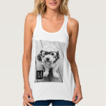 Black and White 1 Photo Collage Custom Monogram Tank Top