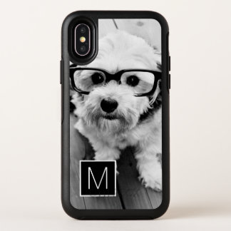 Black and White 1 Photo Collage Monogram OtterBox Symmetry iPhone XS Case