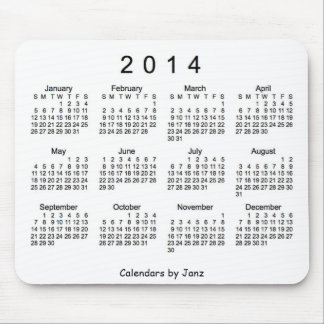 Black and White 2014 Calendar Mouse Pad