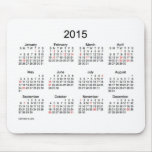 Black and White 2015 Calendar with Holidays Mouse Pad
