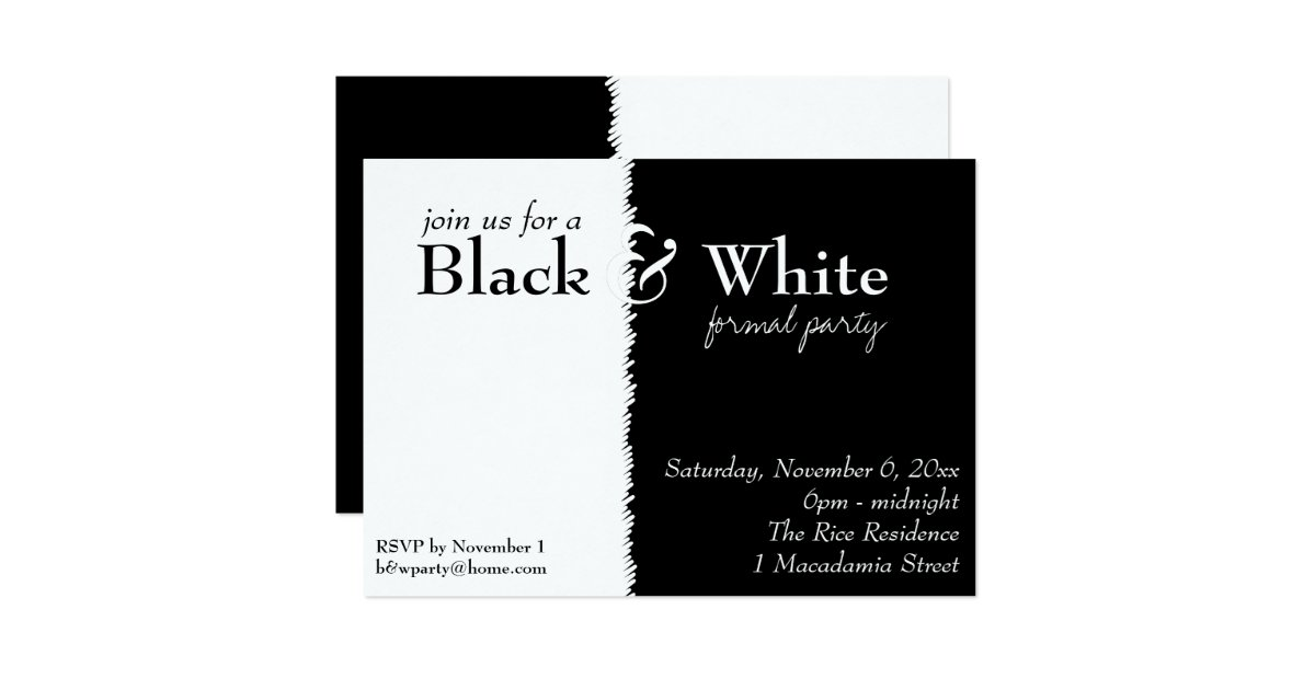 Black and White 2 Theme Party Invitation – Black and White Themed Party Invitations