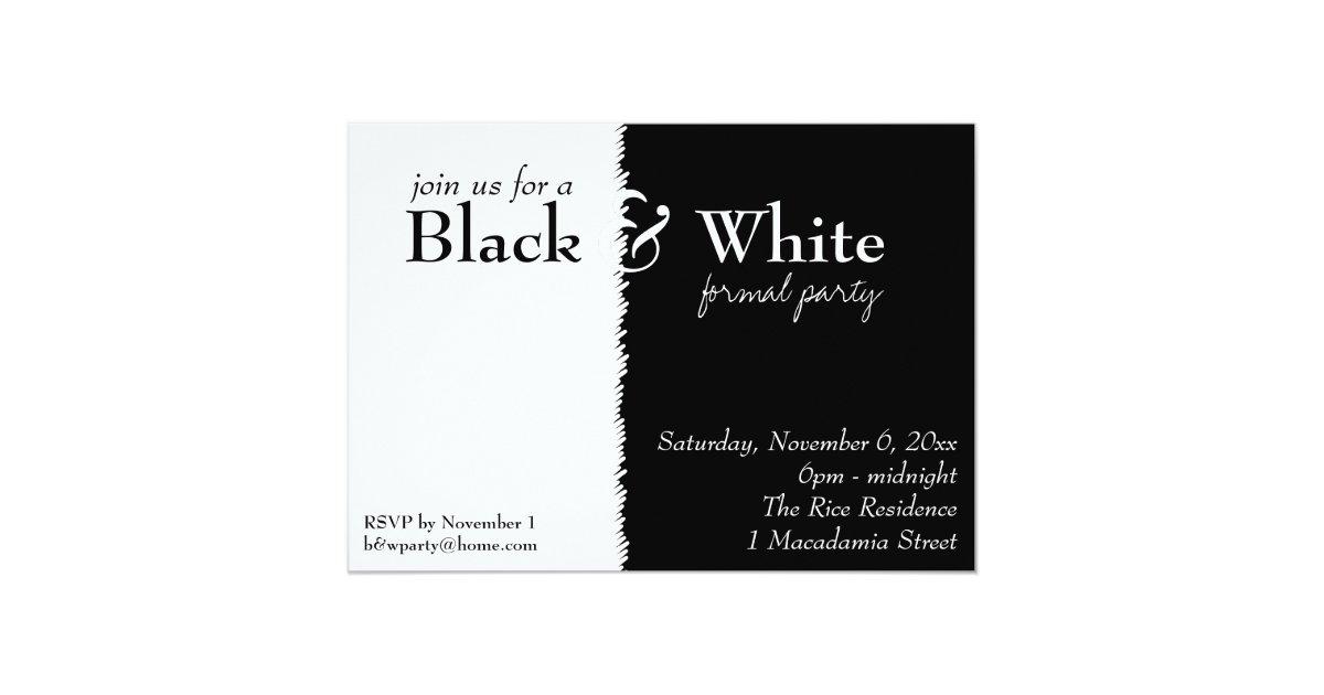Black and White 2 Theme Party Invitation | Zazzle.com