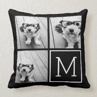 Black and White 3 Photo Collage Custom Monogram Throw Pillow
