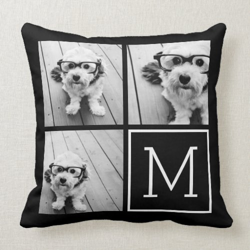 Black and White 3 Photo Collage Custom Monogram Throw Pillow