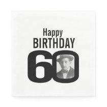 Black and white 60th birthday photo napkins
