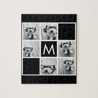 Black and White 6 Photo Collage Custom Monogram Jigsaw Puzzle