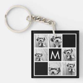 Black and White 6 Photo Collage Custom Monogram Single-Sided Square Acrylic Keychain