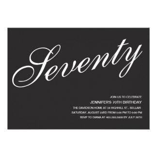 Black and White 70th Birthday Invitations