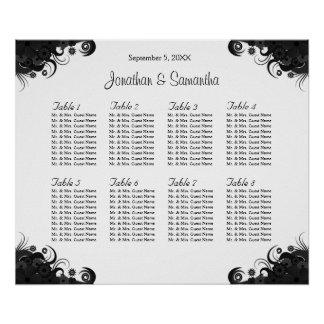 Black and White 8 Wedding Tables Seating Charts