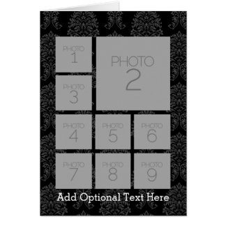 Black and White 9 Photo Collage Custom Monogram Card