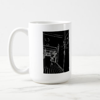 black and white a room coffee mug