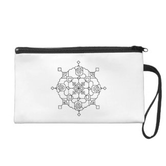 black and white a-symmetric mosaic wristlet purse