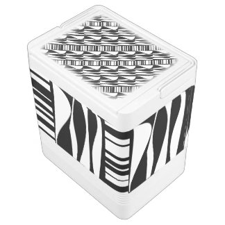 Black and White Abstract 24 Can Cooler