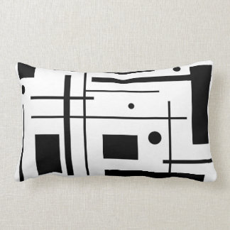 Black and White Abstract Art Lumbar Throw Pillow