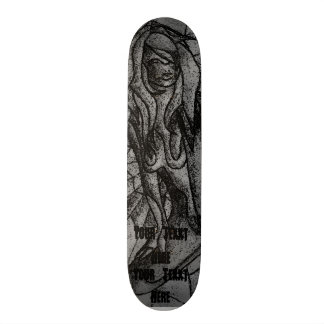 black and white abstract art posing lady retro skateboard