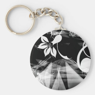 Black and White Abstract Basic Round Button Keychain