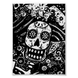 BLACK AND WHITE ABSTRACT CATRINA POSTER