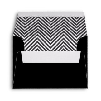Black and White Abstract Chevron Pattern Envelope