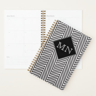 Black and White Abstract Chevron Pattern Monogram Planner