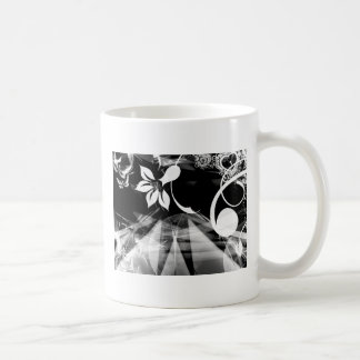 Black and White Abstract Classic White Coffee Mug