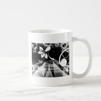Black and White Abstract Classic White Coffee Mug