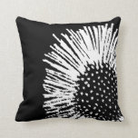 Black and White Abstract Daisy Throw Pillow