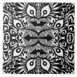 Black And White Abstract Explosion Ceramic Tile