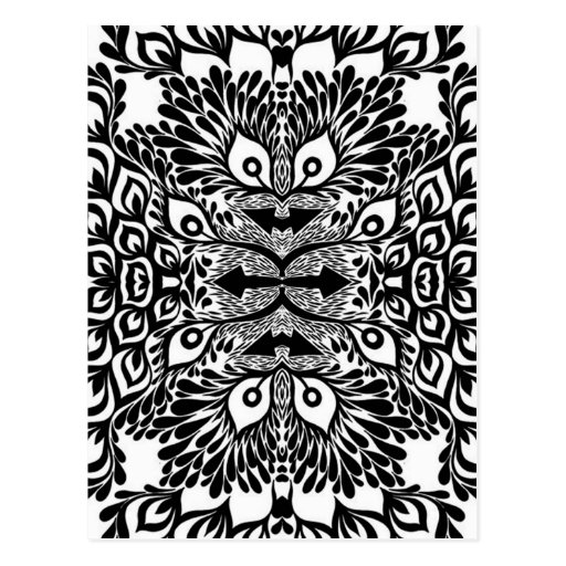 Black And White Abstract Explosion Postcard