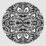 Black And White Abstract Explosion Classic Round Sticker