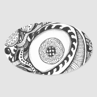 black and white abstract eye print oval sticker