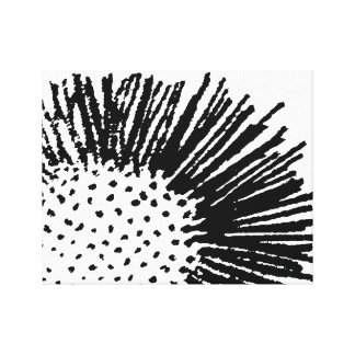Black and White Abstract Floral Gallery Wrapped Canvas