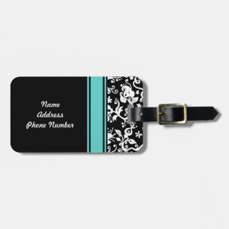 Black and White Abstract Floral Pattern Luggage Tag