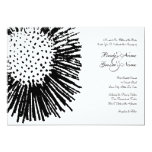 Black and White Abstract Floral Wedding Invitation