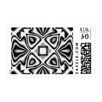 Black and White Abstract Fractal Pattern Stamps