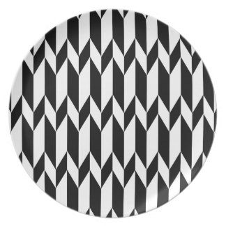 Black and White Abstract Graphic Pattern. Melamine Plate