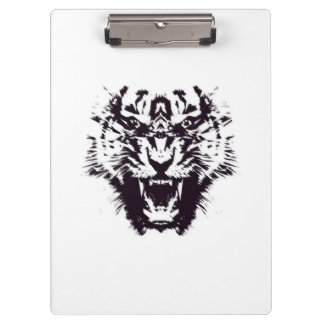 Black and White Abstract Jagged Angry Tiger Clipboard