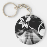 Black and White Abstract Keychain
