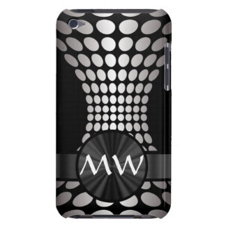 Black and white abstract monogram barely there iPod cover