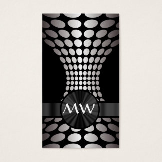Black and white abstract monogram business card