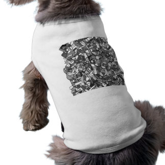 Black and white abstract mosaic dog tee