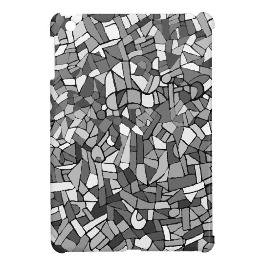 Black and white abstract mosaic iPad mini cover
