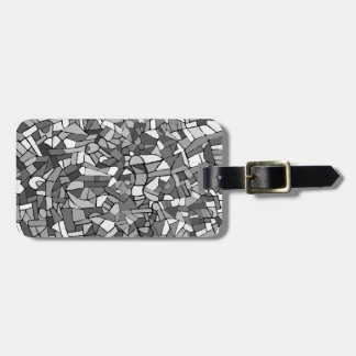 Black and white abstract mosaic luggage tag