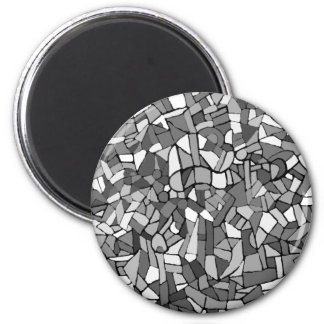black and white abstract mosaic 2 inch round magnet