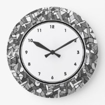 Black and white abstract mosaic wall clock