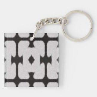 Black and white abstract pattern Double-Sided square acrylic keychain