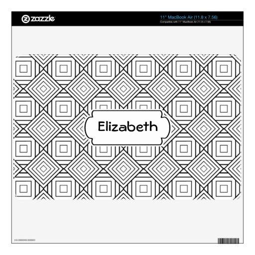 Black and White Abstract Pattern Monogram MacBook  MacBook Skins